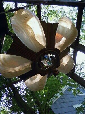 Architectural Salvage Art Deco Slip Shade Ceiling 6 Light Fixture Chandelier