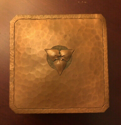 Antique Signed Roycroft Small Hammered Copper Box - Beautiful!
