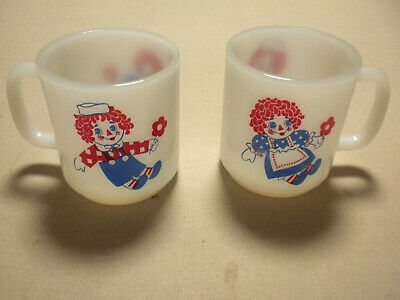 Vintage Raggedy Ann And Andy Milk Glass Coffee Cup Mugs Never Used