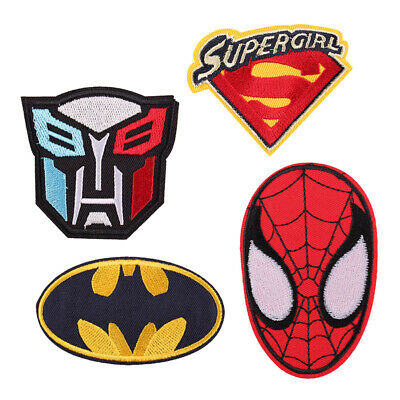 4pcs Spiderman/Batman/Transformers Fabric Embroidered Iron/Sew On Patch HOT