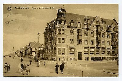 Cpa Knocke-Zoute Digue Et St.george's Hotel 1930 Animee Voiture + Cob N°239