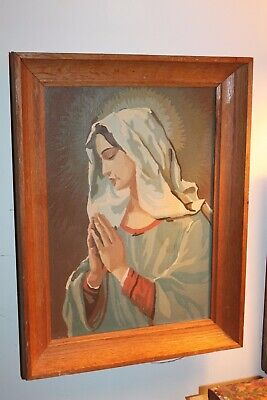 Beautiful And Well Painted, Vintage Paint By Number Mother Mary With Haloes