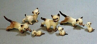 7 Small Vintage Miniature Ornaments of Siamese Cats & Kittens