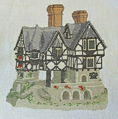 Completed Counted Cross Stitch Unframed Tapestry Picture Tudor Building
