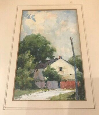 Vintage  Signed Watercolour Old Mill & Trees Salem Near Elora Ontario Canada