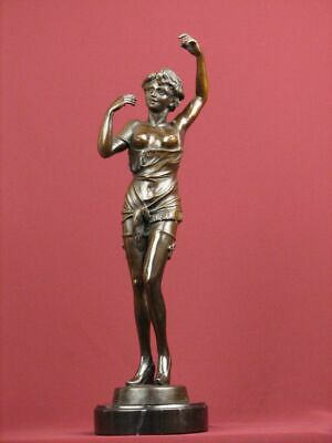 "18"" Signed Semi-Nude Handcrafted Bronze Statue Art Deco Sculpture On Marble Base"