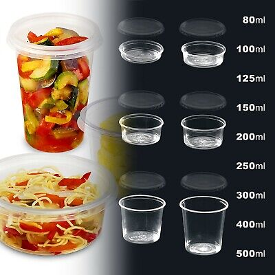 Plastic Storage Tubs Clear ROUND FOOD CONTAINERS + Lids, Deli Pots (Micro-OK)