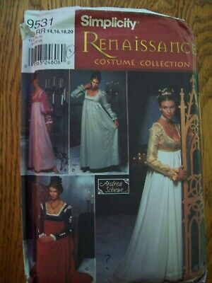 Simplicity 9531 Dress Pattern Emma Costume Renaissance Edwardian 14-16-18-20
