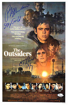 RALPH MACCHIO/C THOMAS HOWELL Signed The Outsiders 11x17 Movie Poster w/Ins - SS