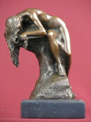 Signed Bronze Sculpture Nude Modern Art Highly Detailed   Statue On  Marble Base