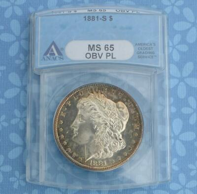 1881 S ANACS MS 65 Obv PL Silver Morgan Dollar, MS 65 Obverse Proof Like $1