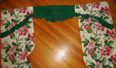 "Unused~1940s Vintage Floral Green Curtain Set~2 Panels Valance In 1 Piece~92"" L"