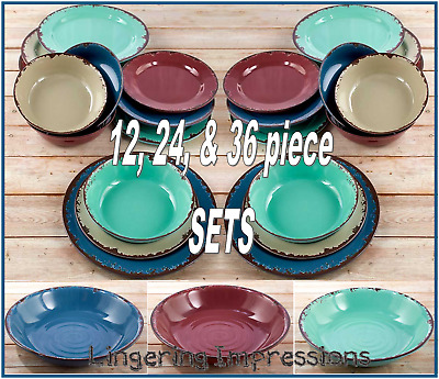 Rustic Melamine Dinnerware Sets.Rustic Melamine Dinnerware Set 12 Pc Country Primitive