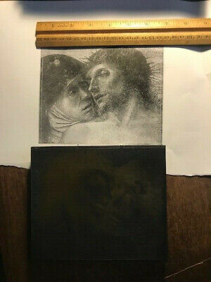 Letterpress lot cut engraving  jesus and mary crown of thorns catholic