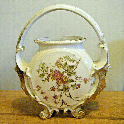 Pretty Victorian Hand Painted Milk Glass Footed Handled Jar Basket