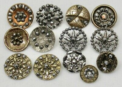 Antique Vintage Victorian Buttons w/CUT STEELS ~ Mixed Lot of 13, Small/Medium