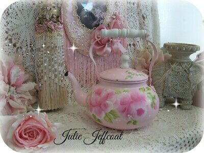 Sweet ~ Victorian ~ Shabby ~ Pink ~ Hand Painted Roses ~ Polka Dot ~ Tea Kettle
