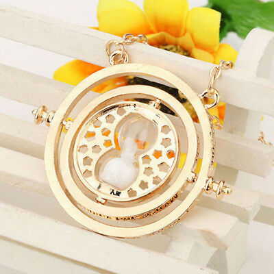Gold White Time Turner Hermione Harry Potter Rotating Spins Hourglass Necklace