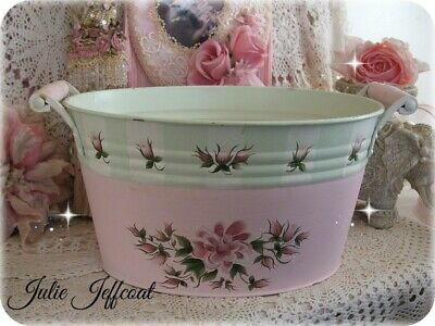 Shabby~ Victorian~ Sweet~ Pink~ Hand Painted Roses~ Metal ~ Decorative ~ Planter