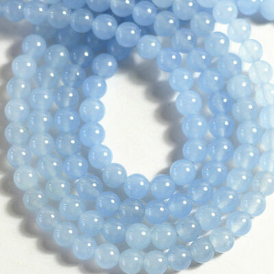 Natural 4/6/8/10/12mm Light Blue Jade Chalcedony Round Gemstone Loose Beads 15''