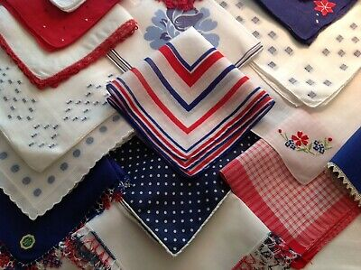 #2043 PATRIOTIC 🇺🇸 LOT Of 19 Hankies! Red White Blue Lace Emb Polka Dot More!