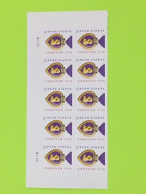 USPS Block Of 10 2014 Purple hearts Forever Stamps Face Valu $5.50 Free Shipping