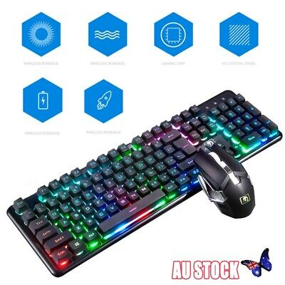 Wireless Charging LED Backlight Gaming Keyboard and Mouse Kit For PC Laptop