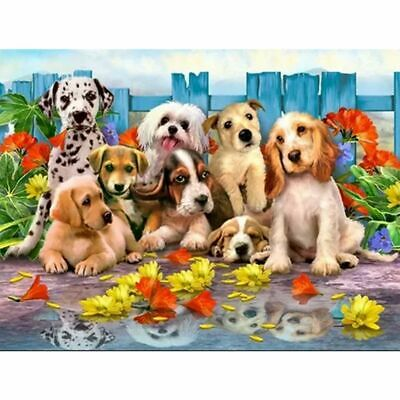 5D DIY Diamond Painting Full Drill Lovely Dogs Embroidery Kits Art Decor + Tool
