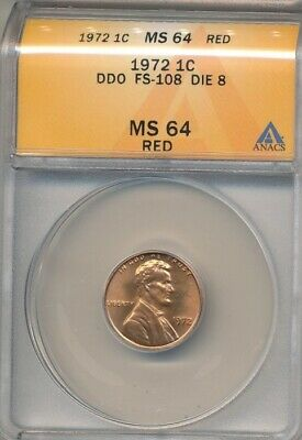 1972 Lincoln Cent Ddo Fs-108 Die 8  -Anacs Ms64 Red! - Great Variety!  Aa637Dxxx