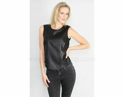 Designer Top High Quality Faux Leather Shell Black