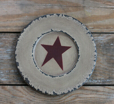 Chippy Paint Wood Plate Burgundy Ivory Star Primitive Decor Hearthside 8.5 in