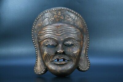 shaman Carved mask mountain Himalayan mask Tribal Tharu mask Old antique Nepal
