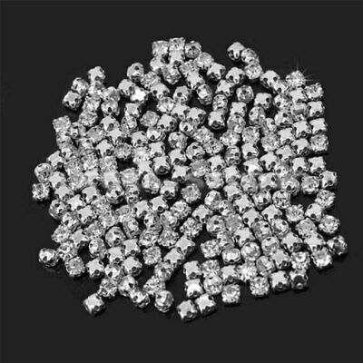 200Pcs Sew On Crystal Glass Diamante Rhinestones Silver Setting 4mm DIY  New