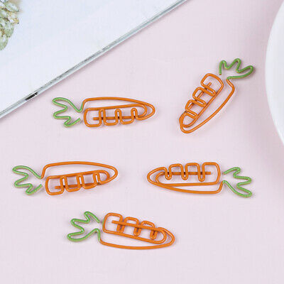 5pcs carrot Shaped Metal Paper Clip Bookmark Stationery School Office Supply HC