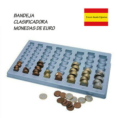 Tray Plastic to Organize and Classify Euro Coin in the Shop