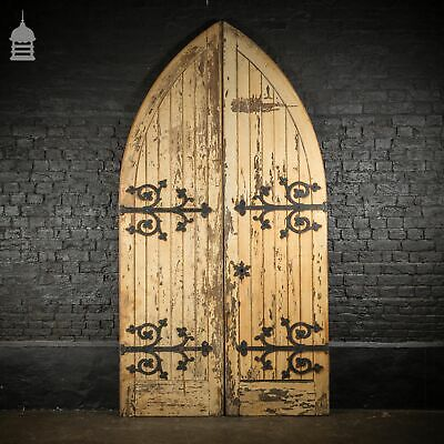 Pair of 19th C Pine Arched Top Ecclesiastical Church Chapel Doors with Ornate Ir