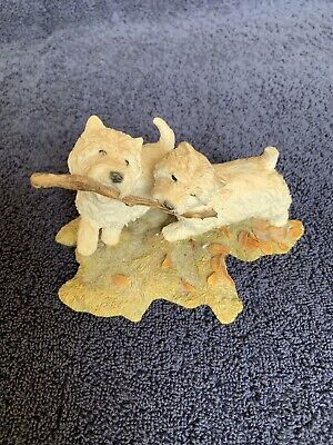 China Figurine - West Highland Terriers with Stick