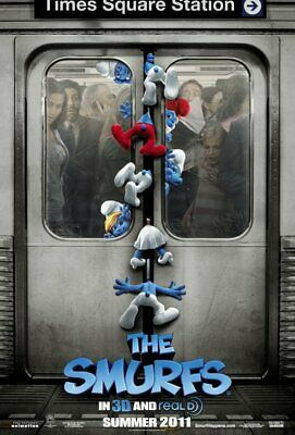 THE SMURFS great original 27x40 D/S movie poster (s01)