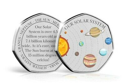 2019 Solar System 50P Shape Coin .999 Silver Plated **Only 250**