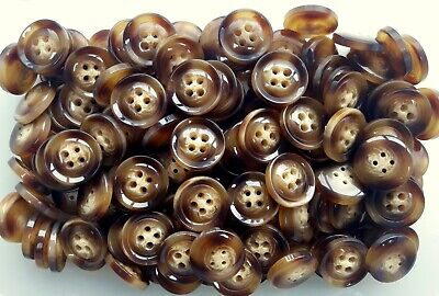 Q237 Large 28mm 44L Golden Brown Cream Animal Swirl 4 Hole Coat Button Buttons