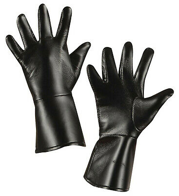 Childrens Boys Kids Black Leather Look Gloves Gauntlets Cowboy Police Costume