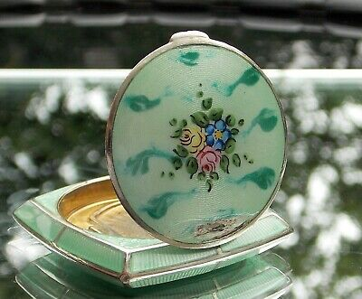 DELIGHTFUL ART DECO Bliss Brothers Co GREEN GUILLOCHE ENAMEL LADIES COMPACT