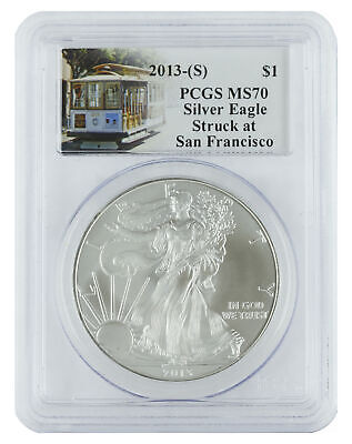 2013(S) - 1oz American Silver Eagle MS70 PCSG - Trolley