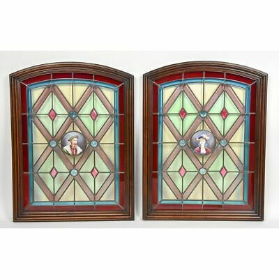 Fantastic Pair of Antique 19th century Stained Glass Jeweled Windows Portraits
