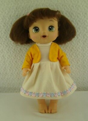 """Doll Clothes Handmade Floral Dress Yellow Bolero Outfit 14.5"""" Baby Alive Doll"""