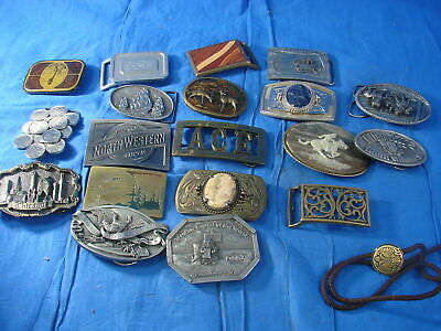 Lot of 19 Belt Buckles and Cord Tie Bergamot Brass Works Indiana Metal Craft