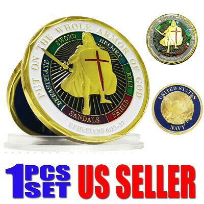 Put On The Whole Armor Of God of  Navy Patron Saint Challenge Coin Collection