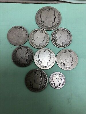 DATES VARY 1892-1916 QUARTER /& 5 DIMES 90/% SILVER LOT OF BARBER HALF DOLLAR