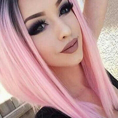 FT- Hot Women Pink Central Parting Long Straight Cosplay Wig Synthetic Hair Myst