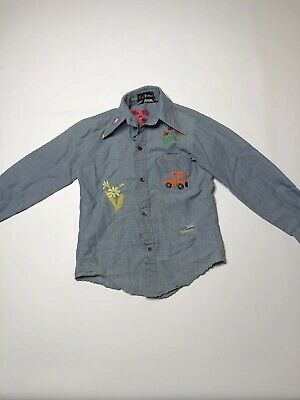 Vtg Bud Berma Kids 8 Shirt Denim 70s Embroidery Cross Stitch Indians Strawberry